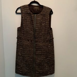 Lafayette 148 Tweed and Leather Vest